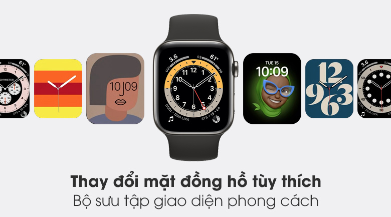 Bộ sưu tập giao diện đa dạng - Đồng hồ Apple Watch Series 6 GPS+Cellular 40mm Space Gray Aluminium Case &BlackSportBand M06P3VN/A