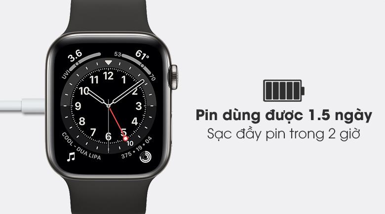 Thời lượng pin được cải thiện - Đồng hồ Apple Watch Series 6 GPS+Cellular 40mm Space Gray Aluminium Case &BlackSportBand M06P3VN/A