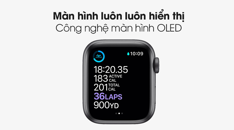 Công nghệ màn hình OLED - Đồng hồ Apple Watch Series 6 GPS 40mm Space Gray Aluminium Case with Black Sport Band MG133VN/A