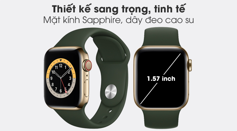 Thiết kế sang trọng - Đồng hồ Apple Watch Series 6 Cellular 40mm Gold SS Case & Cyprus Green Sport Band M06V3VN/A
