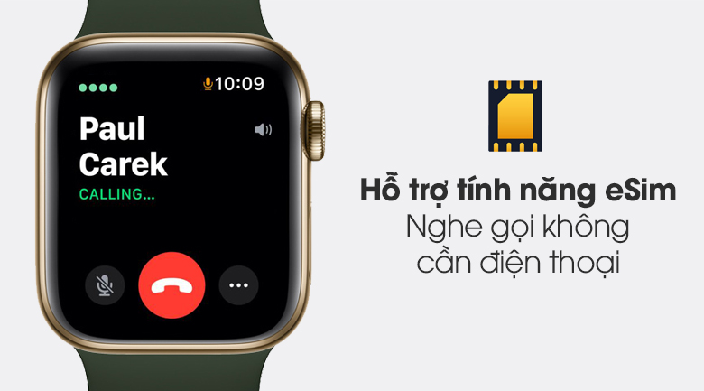 Hỗ trợ eSim - Đồng hồ Apple Watch Series 6 Cellular 40mm Gold SS Case & Cyprus Green Sport Band M06V3VN/A