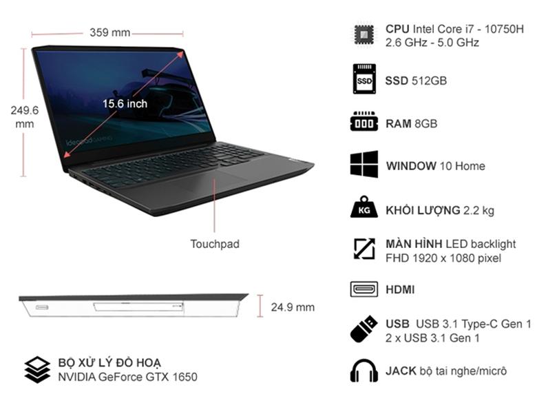 "Thiết kế mạnh mẽ - Laptop Lenovo Ideapad Gaming 3 15IMH05 81Y40067VN (i7-10750H/8GB RAM/512GB SSD/15.6""FHD/GTX1650 4GB/Win10/Đen)"