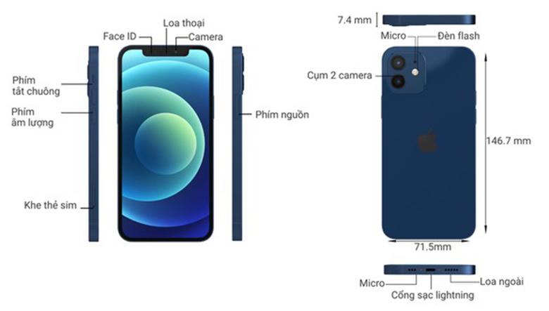 kích thước điện thoại iPhone 12 128GB VN/A Blue
