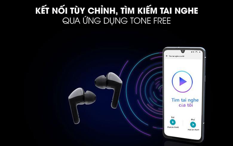Tai nghe Bluetooth LG Tone Free HBS-FN4 Đen tìm kiếm tai nghe qua ứng dụng