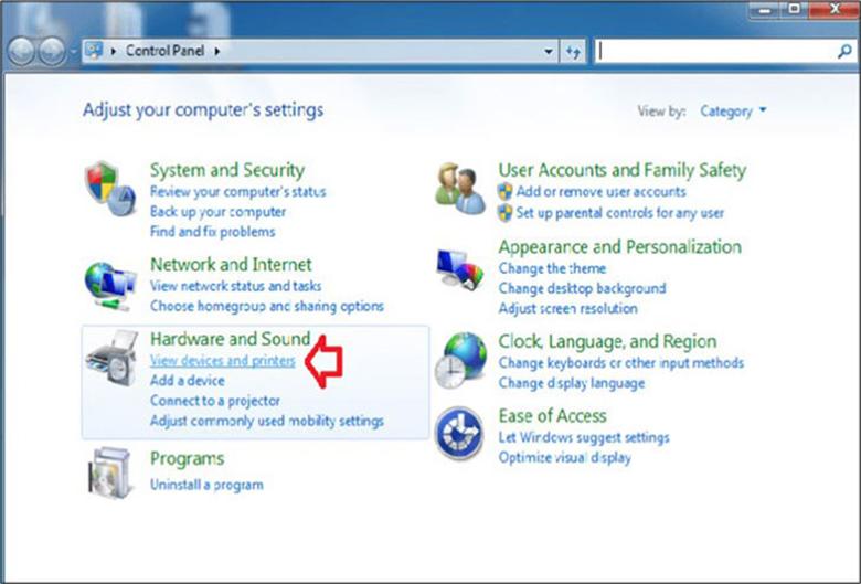 Cách kết nối laptop với loa bluetooth tiếp tục chọn Control Panel => chọn View Devices and Printers