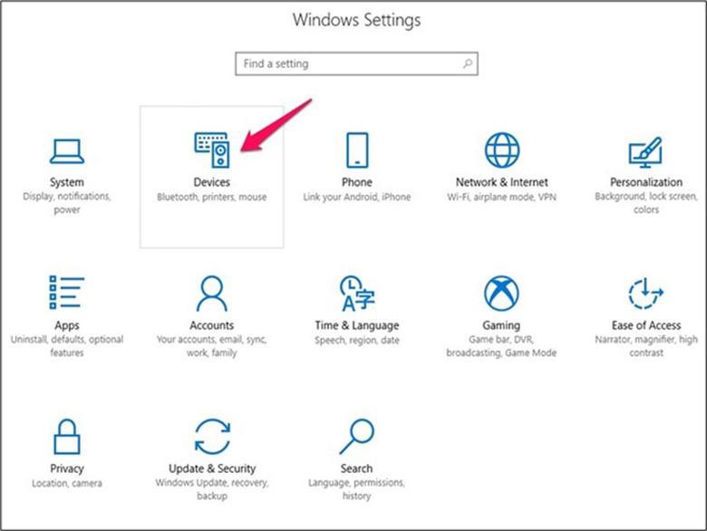 Tiếp tục chọn Devices kết nối laptop với loa bluetooth Win 10