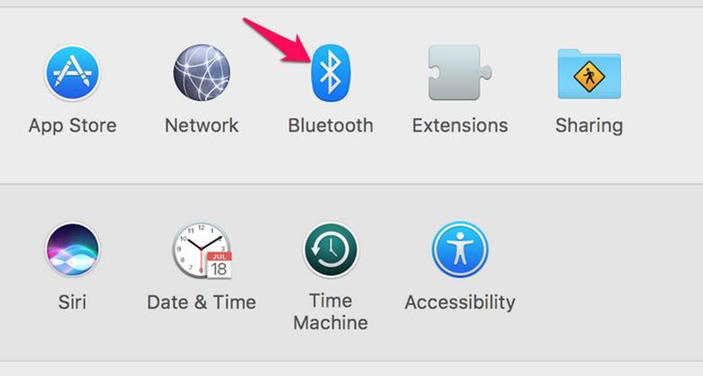 Kết nối loa bluetooth với MacBook tiếp theo kích chọn biểu tượng Bluetooth