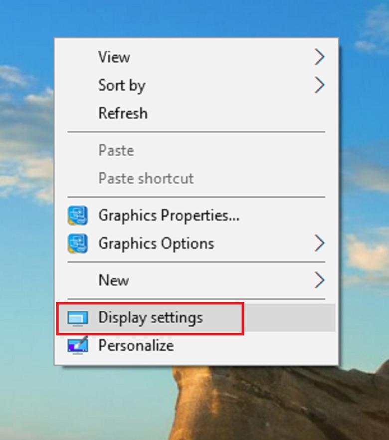 Phóng to màn hình máy tính Win 10 đơn giản mở cửa sổ Display Settings
