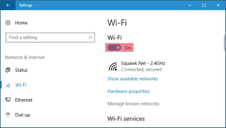 Cách cài wifi cho laptop Win 10 tiếp tục lựa chọn bật hay tắt