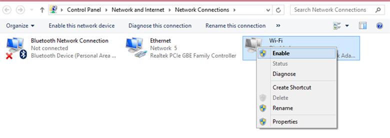 Tiếp sau đó, Kích chuột phải lên Wifi => Chọn Enable.