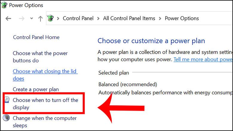 cách chỉnh laptop không tắt màn hình bằng control Panel bước 2 tiếp