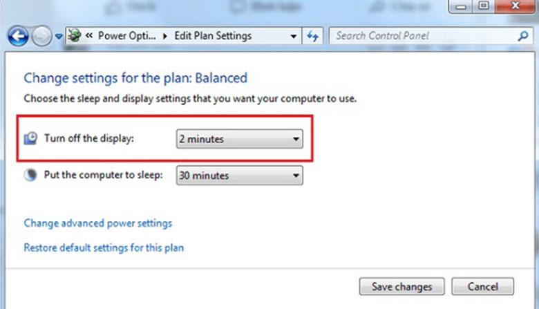 Điều chỉnh thời gian tắt màn hình laptop cho Windows 7 và 8 bước 3