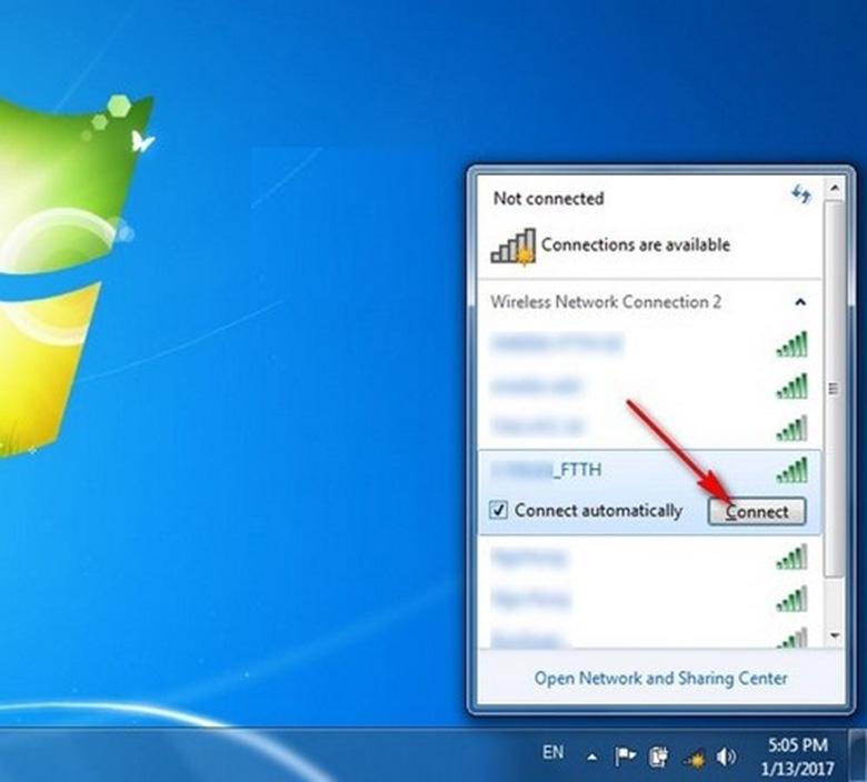 Cách bật wifi trên laptop Asus chọn mạng muốn kết nối