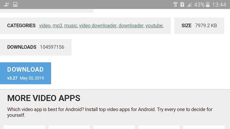 """Tải video từ youtube về điện thoại Oppo dùng phần mềm TubeMate nhấp """"DOWNLOAD"""""""