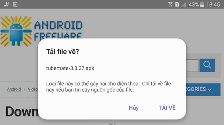 Cách lưu video trên youtube về điện thoại Oppo dùng phần mềm TubeMate chọn tải về