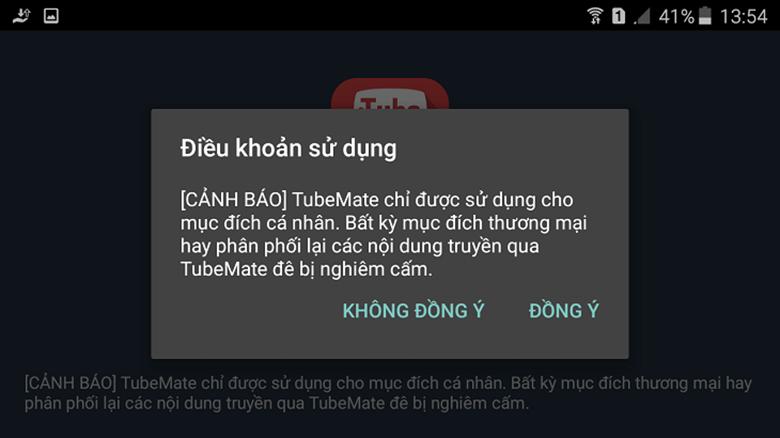 Cách tải video từ youtube về điện thoại Oppo dùng phần mềm TubeMate chọn đồng ý để tải video về