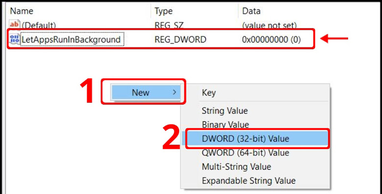 Cách tắt ứng dụng chạy ngầm trên laptop bằng Registry Editor