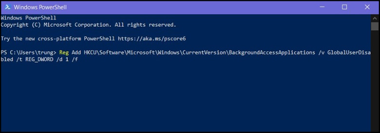Cách tắt ứng dụng chạy ngầm trên laptop bằng PowerShell