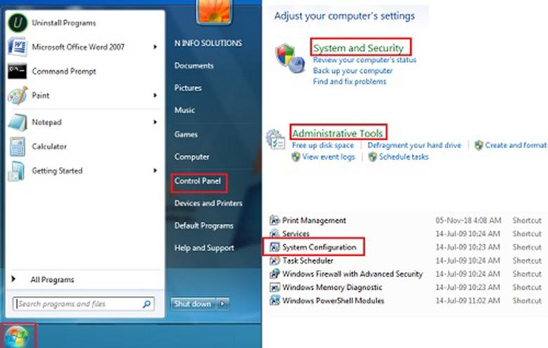 Cách tắt ứng dụng chạy ngầm trên laptop bằng Sử dụng tiện ích System Configuration hoặc cafekientruc.com