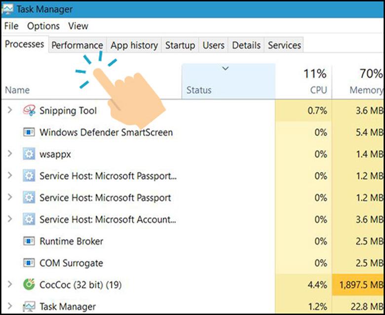 Sử dụng Task Manager rất dễ khi kiểm tra CPU