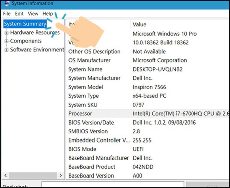 System Information một trong những cách kiểm tra CPU máy tính xem được chi tiết các thông số