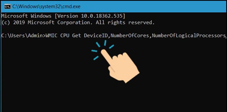 Command Prompt cách kiểm tra CPU của máy tính gõ cmd cũng là một cách kiểm tra chính xác