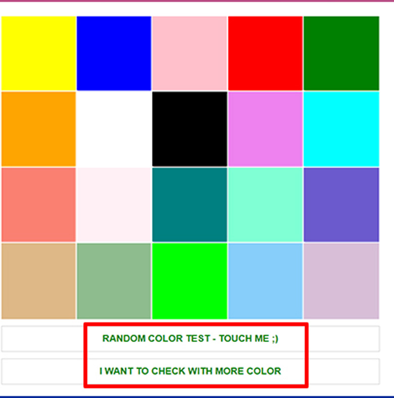 Cách test laptop bằng trình duyệt thực hiện việc kiểm tra màu và nhấn nút test màu ngẫu nhiên