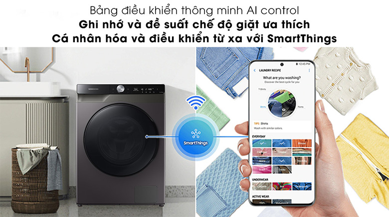 Bảng điều khiển AI Control-Máy giặt sấy Samsung AI Inverter 11 kg WD11T734DBX/SV lồng ngang
