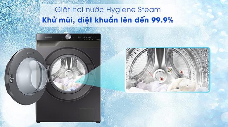 Công nghệ Hygiene Steam-Máy giặt sấy Samsung AI Inverter 11 kg WD11T734DBX/SV lồng ngang