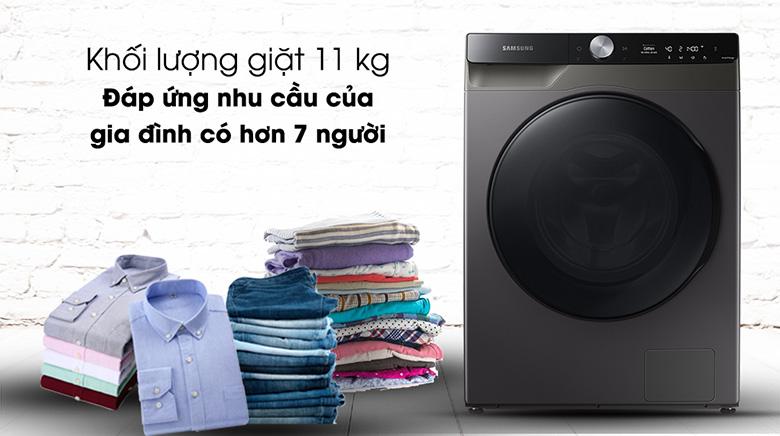 Khối lượng giặt-Máy giặt sấy Samsung AI Inverter 11 kg WD11T734DBX/SV lồng ngang