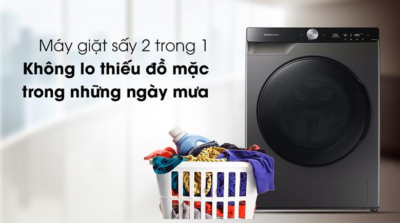 Khối lượng sấy-Máy giặt sấy Samsung AI Inverter 11 kg WD11T734DBX/SV lồng ngang