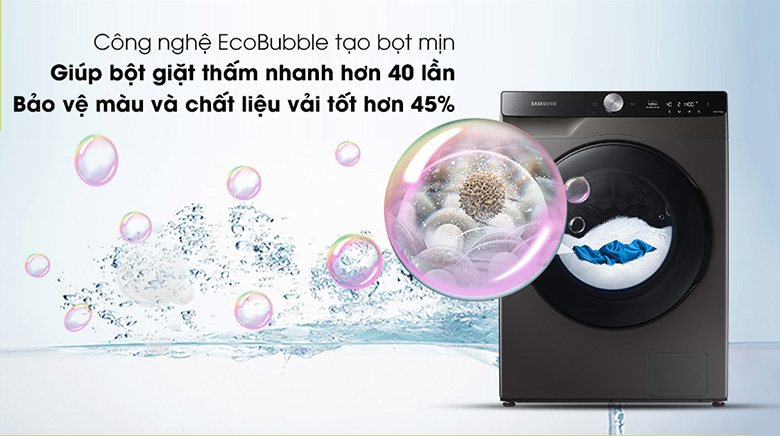 Công nghệ Eco Bubble-Máy giặt sấy Samsung AI Inverter 11 kg WD11T734DBX/SV lồng ngang