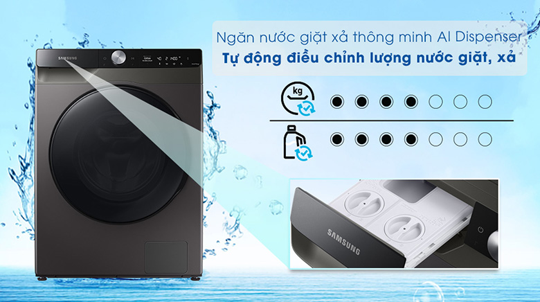 Công nghệ AI Dispenser-Máy giặt sấy Samsung AI Inverter 11 kg WD11T734DBX/SV lồng ngang