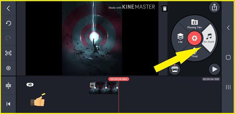 Cách làm video ảnh nhạc trên điện thoại với phần mềm KineMaster mở ứng dụng lên chọn âm thanh