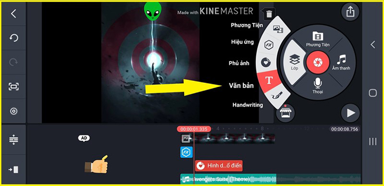 Cách lồng nhạc vào hình trên điện thoại với phần mềm KineMaster mở ứng dụng lên chọn mục văn bản để viết chữ
