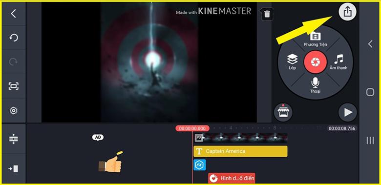 Cách làm video ảnh ghép nhạc trên điện thoại với phần mềm KineMaster và ấn vào biết tượng tải lên