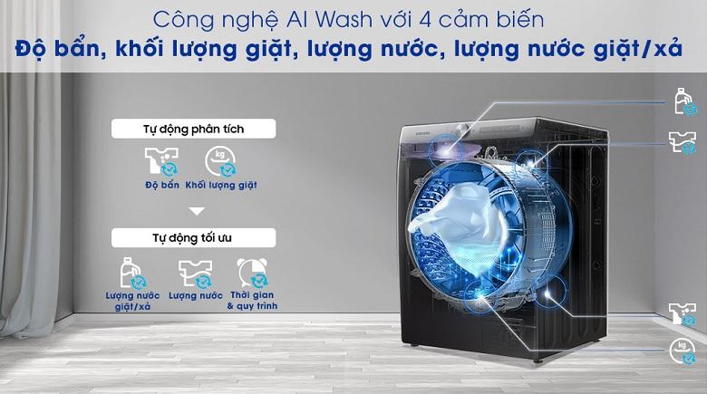 Công nghệ AI Wash-Máy giặt sấy Samsung AI Inverter 14 kg WD14TP44DSB/SV lồng ngang