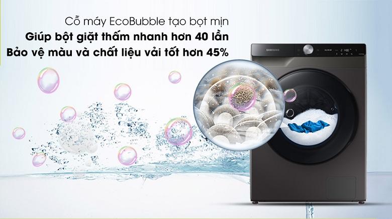 Công nghệ Eco Bubble-Máy giặt sấy Samsung AI Inverter 14 kg WD14TP44DSB/SV lồng ngang