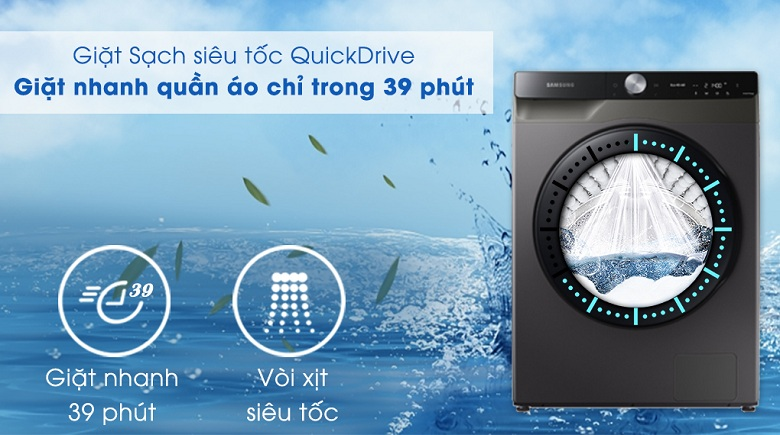 Chế độ giặt QuickDrive-Máy giặt sấy Samsung AI Inverter 14 kg WD14TP44DSB/SV lồng ngang