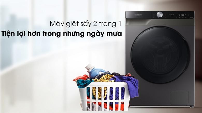 Khối lượng sấy-Máy giặt sấy Samsung AI Inverter 14 kg WD14TP44DSB/SV lồng ngang
