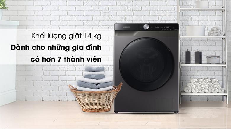Khối lượng giặt -Máy giặt sấy Samsung AI Inverter 14 kg WD14TP44DSB/SV lồng ngang