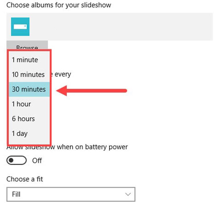 Cách cài hình nền laptop Win 10 vào cài đặt chọn thời gian chuyển ảnh