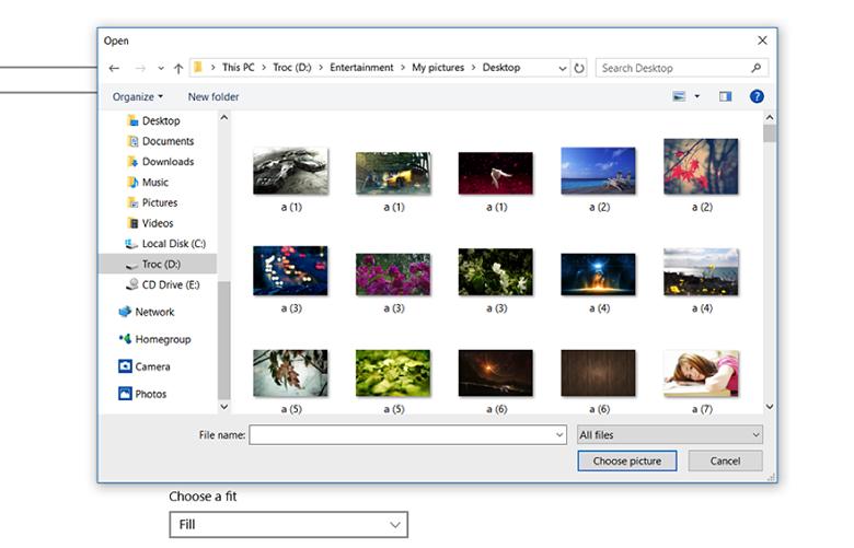 Cách cài đặt hình nền cho laptop Win 10 chọn hình ảnh trực tiếp trong ablum ảnh lưu về máy tính, laptop