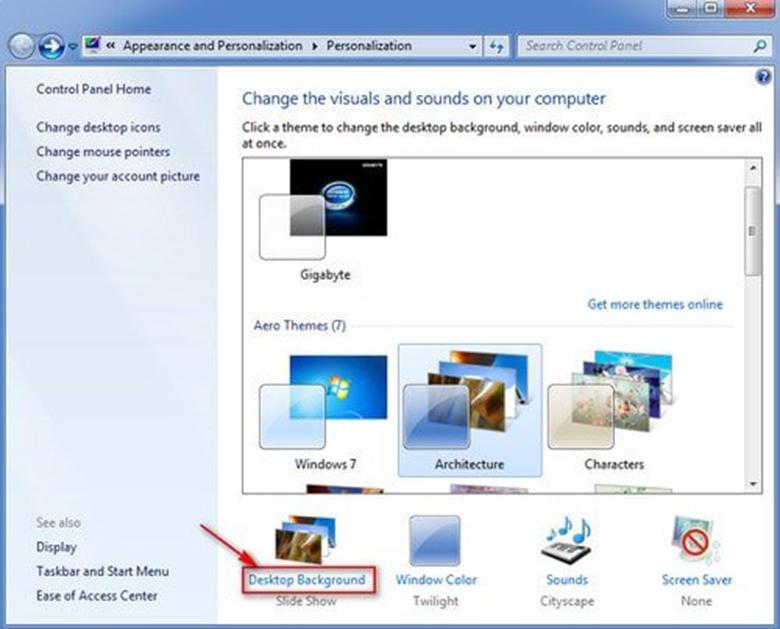 Cách cài hình nền cho laptop Win7 đơn giản vào cài đặt