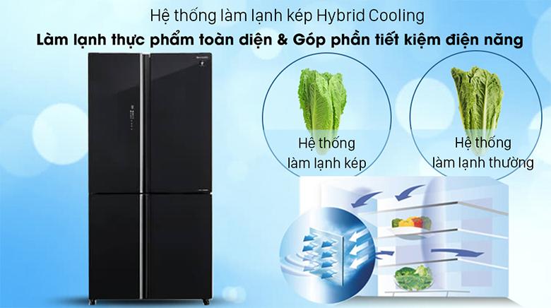 Tủ lạnh Sharp Inverter 520 lít SJ-FXP600VG-BK hệ thống làm lạnh kép