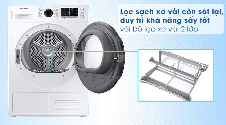 Bộ lọc xơ vải-Máy sấy bơm nhiệt Samsung Inverter 9 kg DV90TA240AE/SV