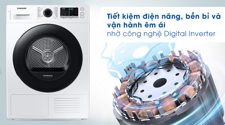 Công nghệ Digital Inverter-Máy sấy bơm nhiệt Samsung Inverter 9 kg DV90TA240AE/SV