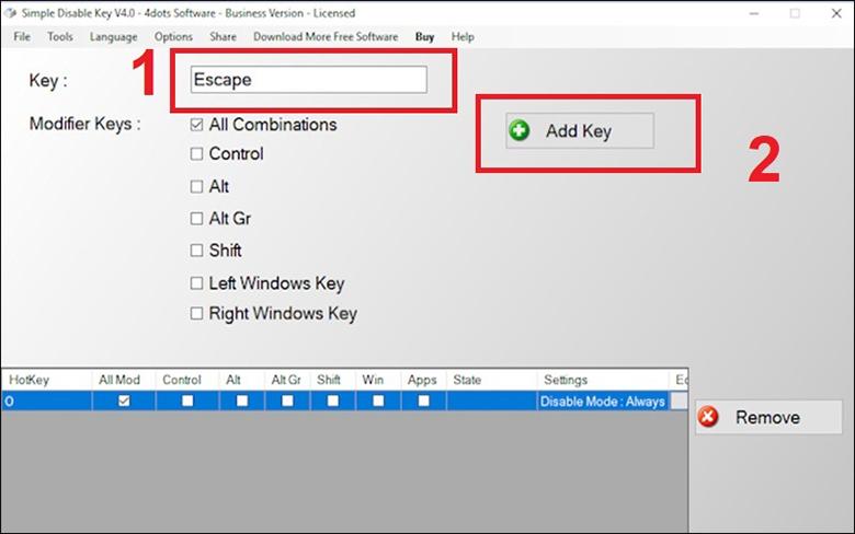 Cách tắt bàn phím laptop bằng phần mềm Simple Disable Key