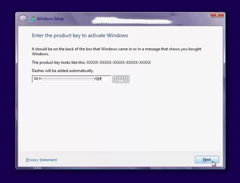 Cách cài Win 8 cho laptop tiếp tục ấn chọn Next