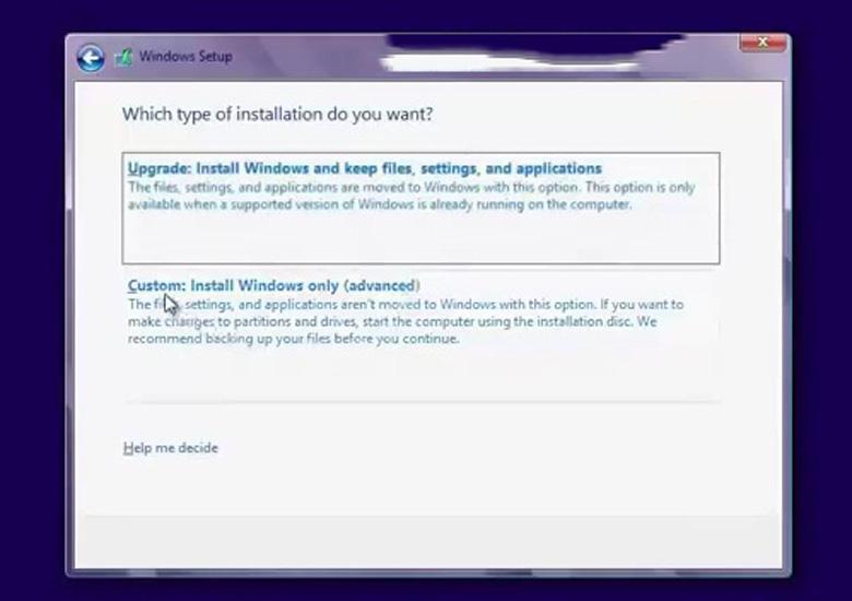 Cách cài Win 8 cho laptop tiếp tục ấn chọn Custom